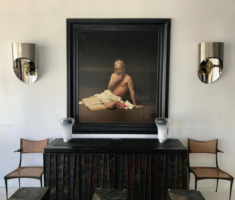 Modern Large Allegory Oil Painting in Frame by Greek Artist Angelos Panayiotou For Sale