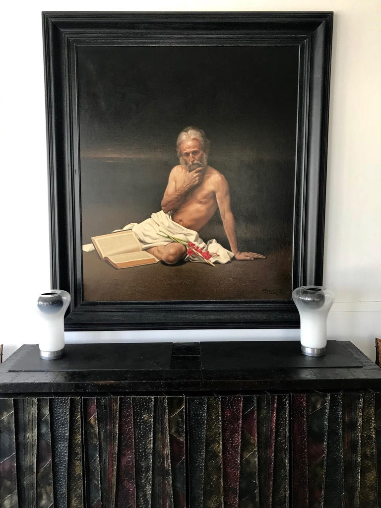 Large Allegory Oil Painting in Frame by Greek Artist Angelos Panayiotou In Good Condition For Sale In Atlanta, GA