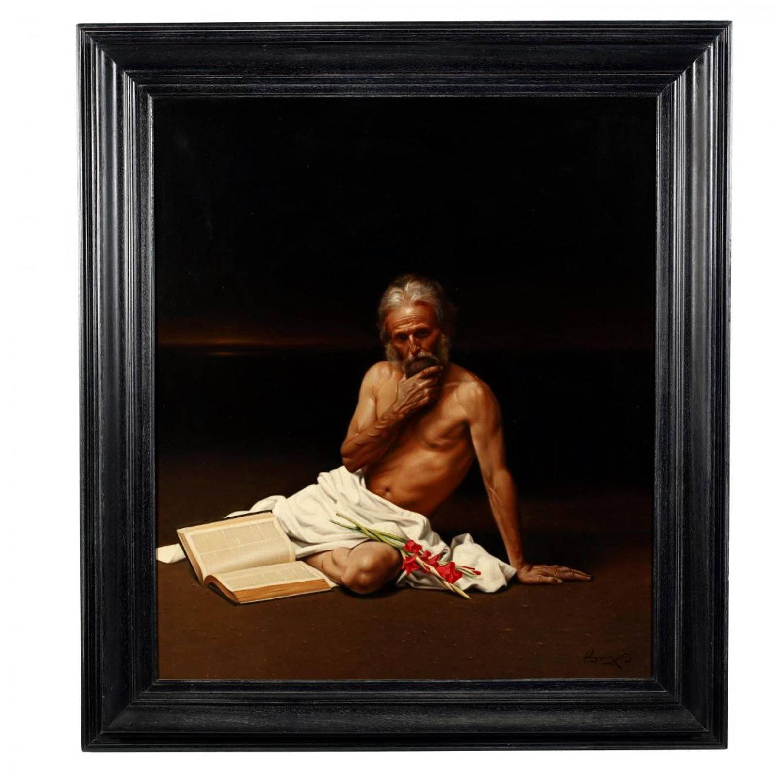 Large Allegory Oil Painting in Frame by Greek Artist Angelos Panayiotou