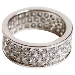 Large Alliance Ring in Diamonds and 18 Carat White Gold with 4.16 Carat