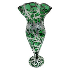 Large Alvin Art Nouveau Green Silver Overlay Daisy Vase