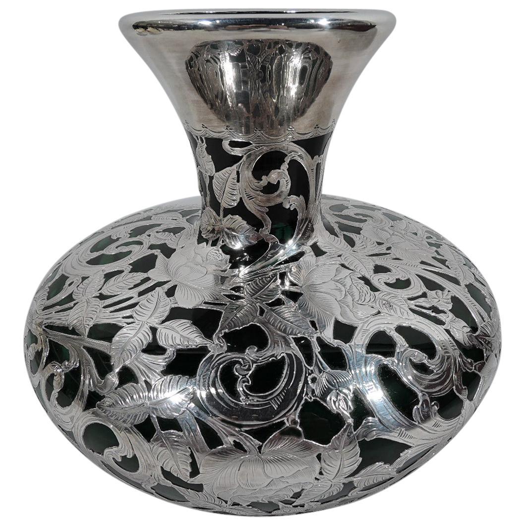 Large Alvin Art Nouveau Green Silver Overlay Vase