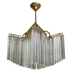 Large & Amazing 1980s Italian Modern Venini Triedri Clear Glass Chandelier Light
