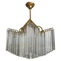 Large & Amazing 1980s Italian Modern Venini Triedri Clear Glass Chandelier Light