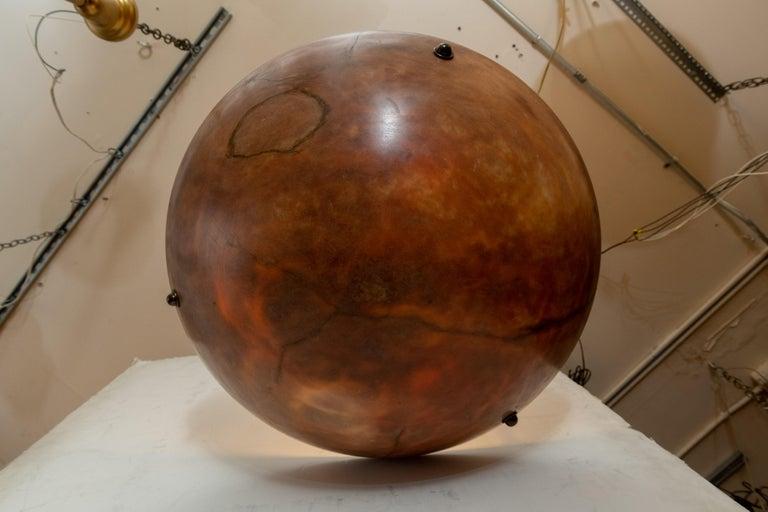 Mid-Century Modern Large Amber Alabaster Pendant, Mid-Century For Sale