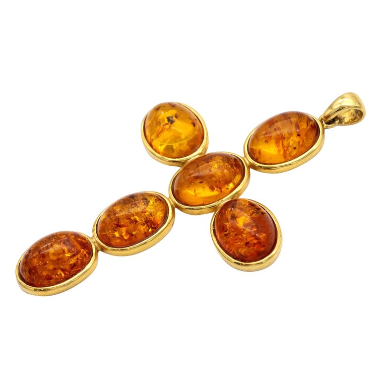 Large Amber and 18 Karat Gold Cross Pendant For Sale