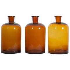 Large Amber Apothecary Glasses, Jars Bottles