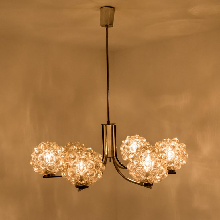 Large Amber Bubble Glass Chandelier Helena Tynell 1960