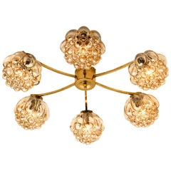 Large Amber Bubble Glass Chandelier Helena Tynell, 1960