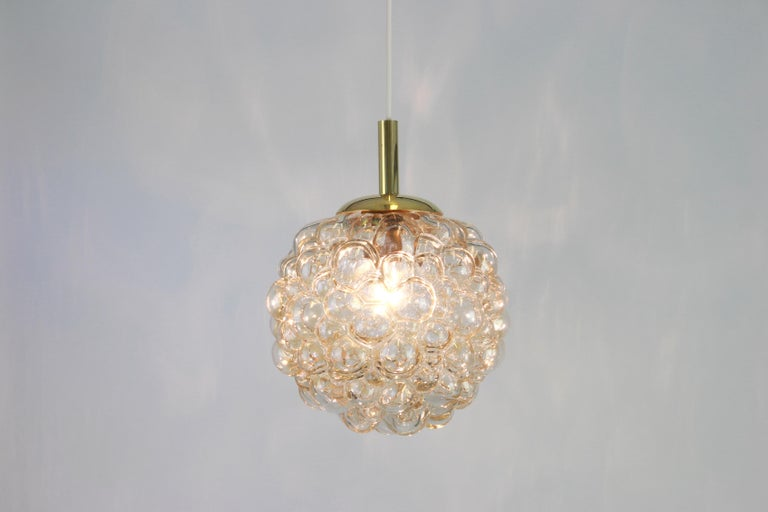 Late 20th Century Large Amber Bubble Glass Pendant by Helena Tynell for Limburg, Germany, 1970s For Sale