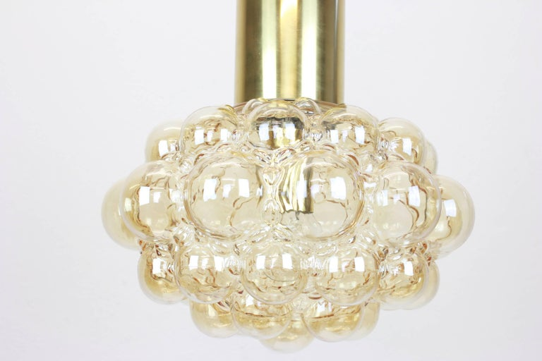 Mid-Century Modern Large Amber Bubble Glass Pendant by Helena Tynell, Limburg, Germany For Sale