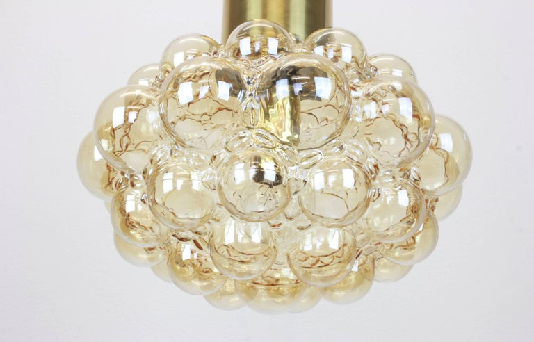 Late 20th Century Large Amber Bubble Glass Pendant by Helena Tynell, Limburg, Germany For Sale