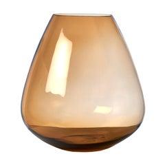 Large Amber Glass Vase