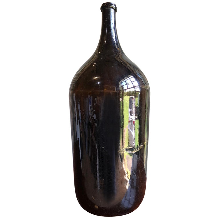 Large Amber Wine Bottle, French 19th Century For Sale