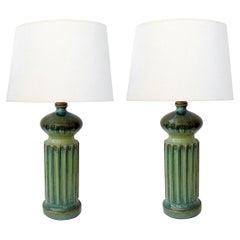 Large American 1960s Apple-Green Glazed Ceramic Ovoid-Form Lamp