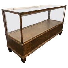 Large American Art Deco Style Rectangular Floor Glass Display Case Cabinet