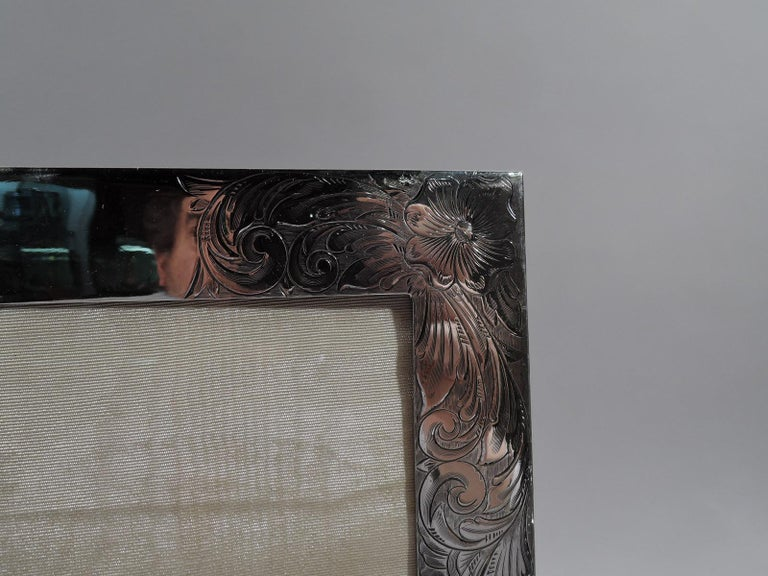 20th Century Large American Art Nouveau Sterling Silver Picture Frame For Sale