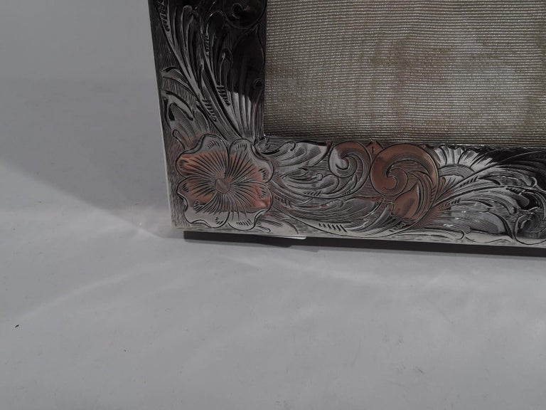 Large American Art Nouveau Sterling Silver Picture Frame For Sale 2