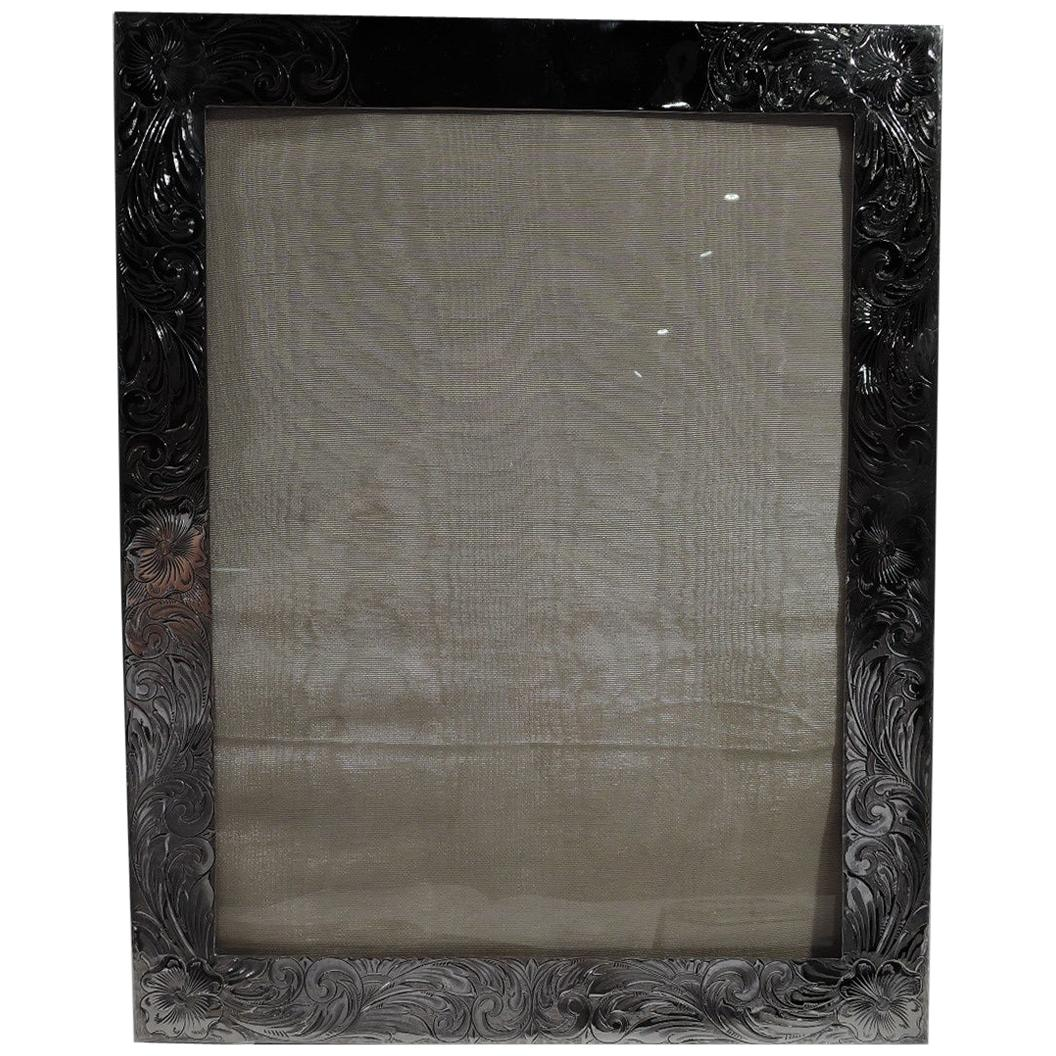 Large American Art Nouveau Sterling Silver Picture Frame