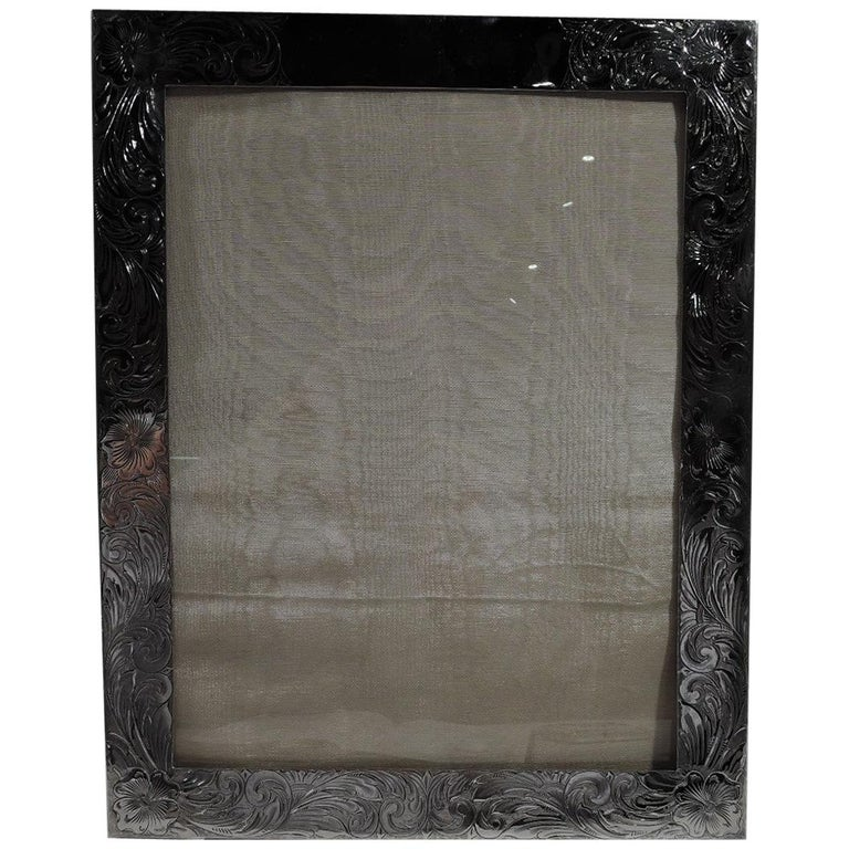 Large American Art Nouveau Sterling Silver Picture Frame For Sale