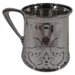 Large American Arts & Crafts Sterling Silver Strapwork Baby Cup