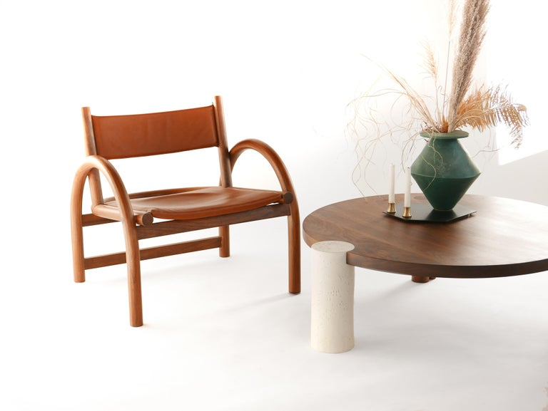 Contemporary Large American Black Walnut Coffee Table with Copper and Solid Wood Legs For Sale