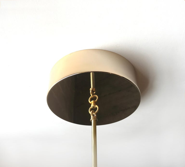 Large American Black Walnut Pendant Light with Brass Fixtures and Leather Straps In New Condition For Sale In Vancouver, BC