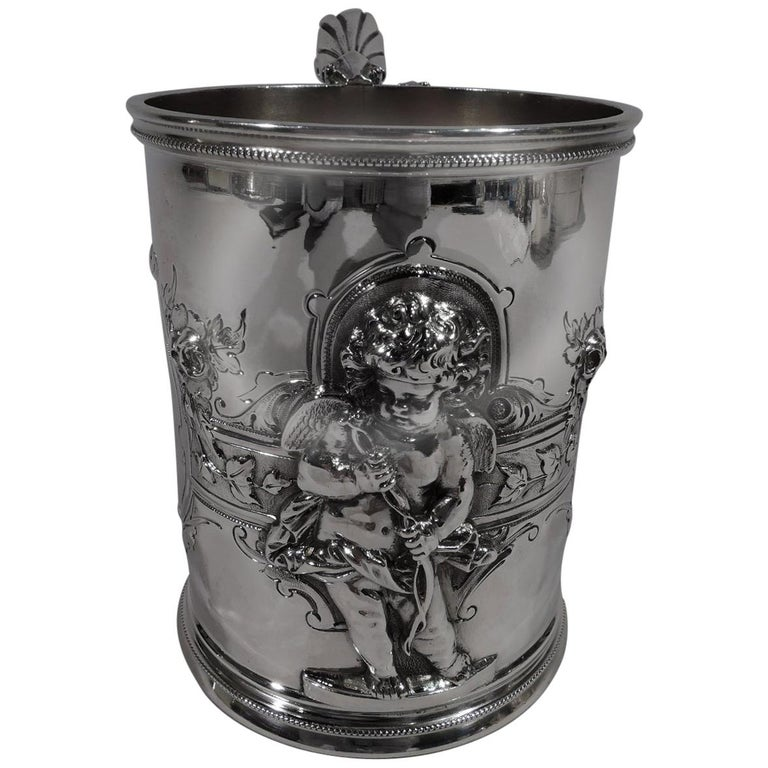 Large American Classical Coin Silver Baby Cup by Wood & Hughes For Sale