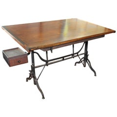 Large American Drafting Table Iron Base/Adjustable