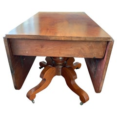 Large American Drop Leaf Pedestal Breakfast Table, Late 19th C