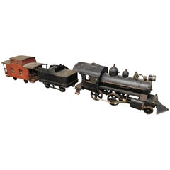Large American Folk Art Tin Train with Locomotive Engine Coal Car and Caboose