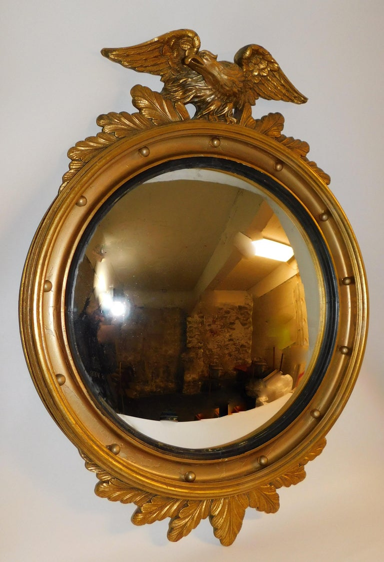 Large American Gilt Carved Wood Eagle Oval Convex Wall