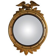 Large American Gilt Carved Wood Eagle Oval Convex Wall Mirror, circa 1890