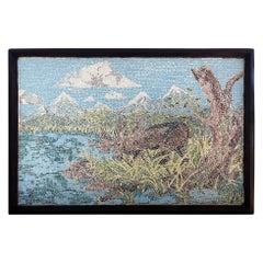 Large American Micromosaic Alaskan Landscape, Features Moose