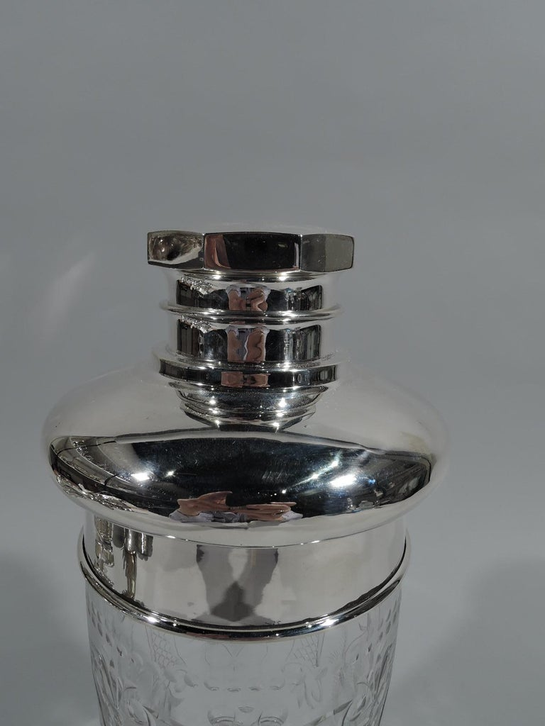 Large American Modern Sterling Silver and Glass Cocktail Shaker In Excellent Condition For Sale In New York, NY