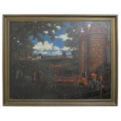 Large American Pastoral Farm Scene Painting