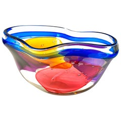 "Large American Studio Glass Colored ""Lava"" Centerpiece by, Leon Applebaum"