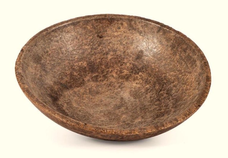 Folk Art Large American Turned Burl Wood Bowl, Late 18th-Early 19th Century For Sale