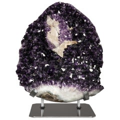 Large Amethyst Cluster with Calcite Formation, Hematite and White Quartz