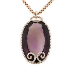 Large Amethyst Diamond Gold Pendant Necklace