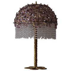 Large Amethyst Table Lamp, Gilt Iron and Glass, Italy, circa 1970s