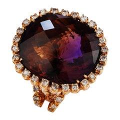 Large Ametrine Cushion-Cut 14k Yellow Gold Diamond Cocktail Ring