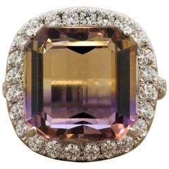 Large Ametrine Diamond Gold Cocktail Ring