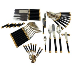 Large and Rare Vuillermet France Cutlery Set in Black Gold with Knife Rests 60s