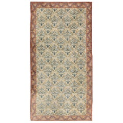 Large and Colorful Antique Spanish Rug with All-Over Design in Coral  and cream