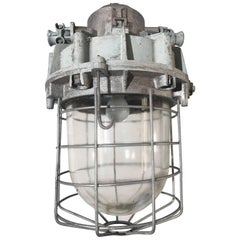 Large and Decorative 1920s Industrial Iron and Glass Caged Pendant/Light Fixture