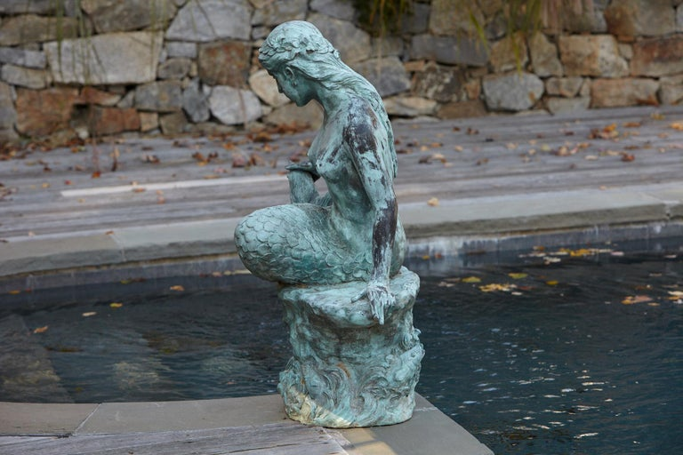 Large and Detailed Bronze Water Garden / Fountain Statue of Mermaid, 1940s For Sale 5