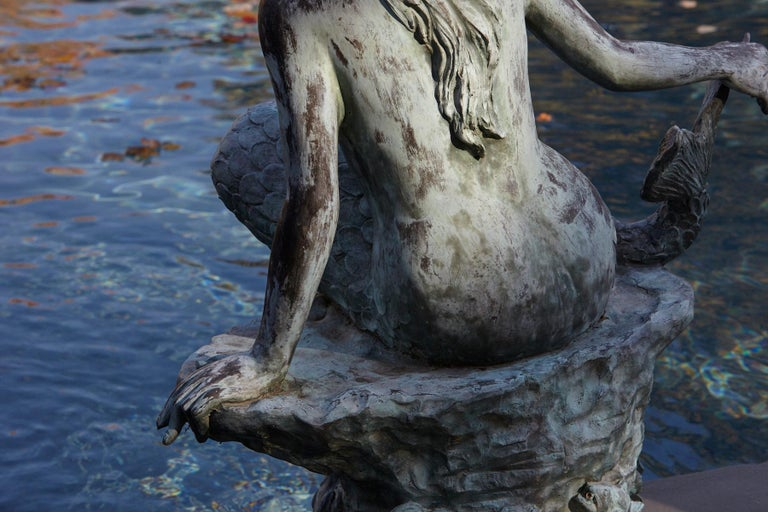 Mid-20th Century Large and Detailed Bronze Water Garden / Fountain Statue of Mermaid, 1940s For Sale