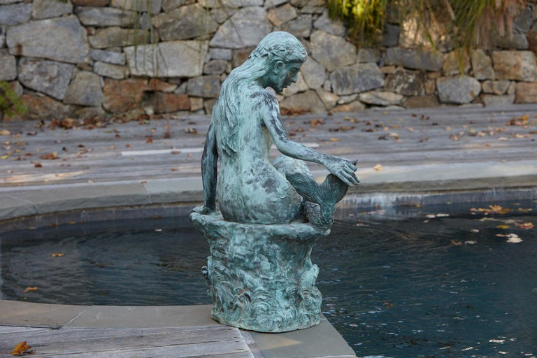 Large and Detailed Bronze Water Garden / Fountain Statue of Mermaid, 1940s For Sale 1