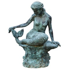 Large and Detailed Bronze Water Garden / Fountain Statue of Mermaid, 1940s